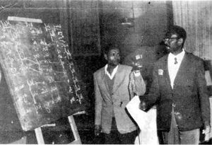 Cheikh Anta Diop Diop, Cairo 1974 in one of his very appearances in the International Colloquium about Ancient Egypt populating and deciphering of Meroitic writing