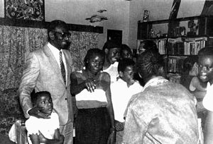 Cheikh Anta Diop with his children. July 1983 in Brazzaville.